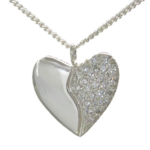 Silver Heart with 25 Diamonds (pave set)