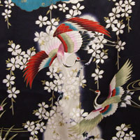 Flower Pattern on Silk Kimono