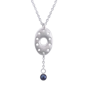 Open Oval Pendant with Blue Pearl