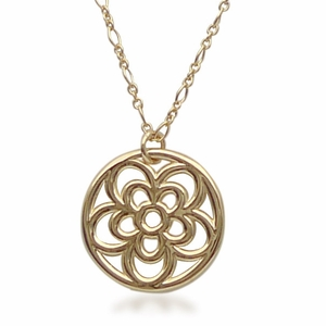 18k Gold Open Rosette Necklace